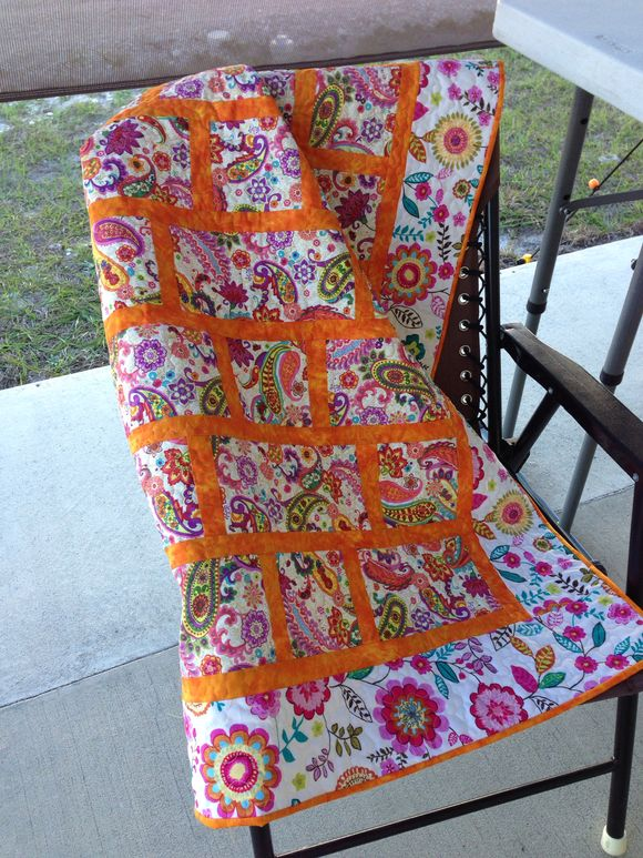 Little quilt. Orange and paisley