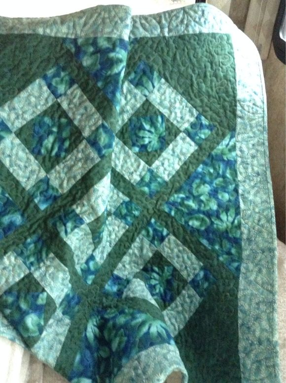 On point blue green lap quilt, table topper, small throw